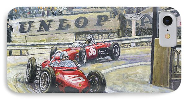 1961 Monaco Gp Ferrari 156 #40 Trips #36 Ginther IPhone Case by Yuriy Shevchuk