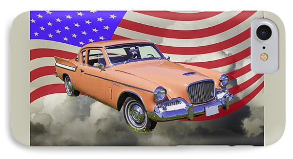 1961 Studebaker Hawk With United States Flag IPhone Case by Keith Webber Jr