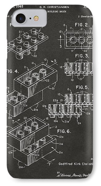 1961 Toy Building Brick Patent Art - Gray Phone Case by Nikki Marie Smith