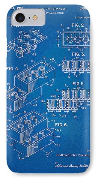 1961 Toy Building Brick Patent Artwork - Blueprint Phone Case by Nikki Marie Smith