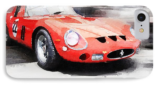 1962 Ferrari 250 Gto Watercolor IPhone Case by Naxart Studio