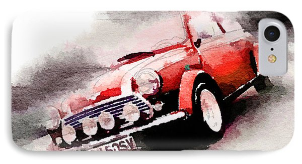 1963 Austin Mini Cooper Watercolor IPhone 7 Case by Naxart Studio