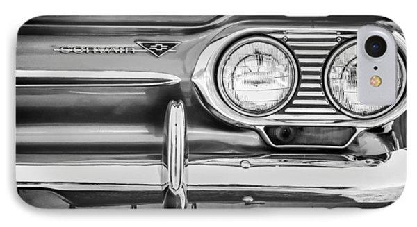 1963 Chevrolet Corvair Monza Spyder Headlight Emblem -0594bw IPhone Case by Jill Reger