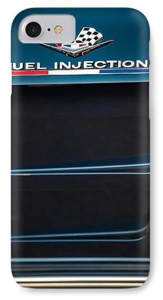 1963 Chevrolet Corvette Sting Ray Fuel-injection Split Window Coupe Emblem IPhone Case by Jill Reger