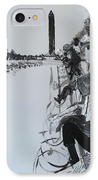 IPhone Case featuring the painting 1963 D.c. Monument And Reflecting Pond by Leslie Byrne