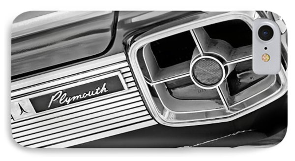 1963 Plymouth Fury Taillight Emblem -3321bw IPhone Case by Jill Reger