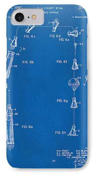1963 Space Capsule Patent Blueprint IPhone Case by Nikki Marie Smith