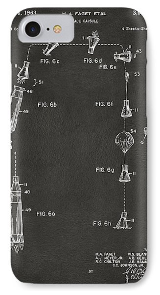 1963 Space Capsule Patent Gray IPhone Case by Nikki Marie Smith