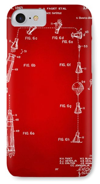 1963 Space Capsule Patent Red IPhone Case by Nikki Marie Smith