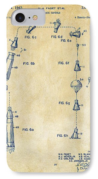 1963 Space Capsule Patent Vintage IPhone Case by Nikki Marie Smith