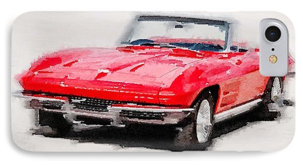1964 Corvette Stingray Watercolor IPhone Case by Naxart Studio