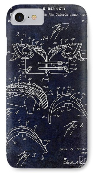 1964 Football Shoulder Pads Patent Blue IPhone Case by Jon Neidert