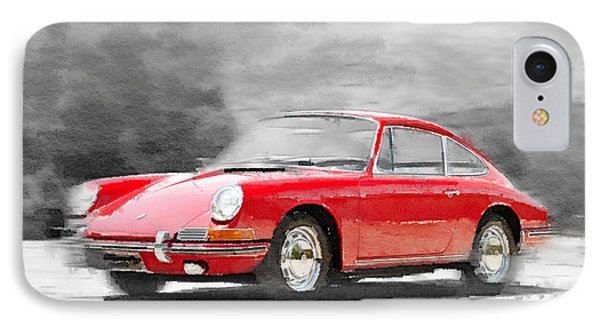 1964 Porsche 911 Watercolor IPhone Case by Naxart Studio