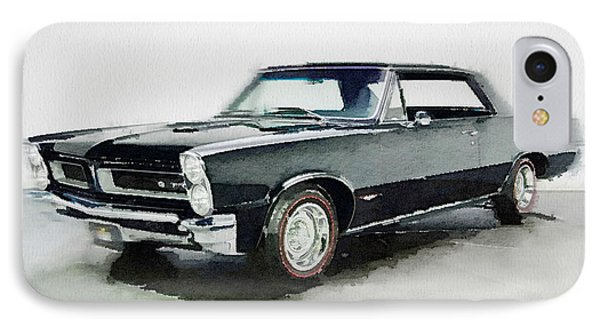 1966 Pontiac Gto Watercolor IPhone Case by Naxart Studio