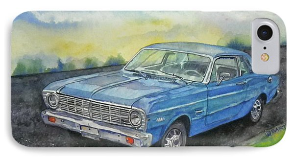 IPhone Case featuring the painting 1967 Ford Falcon Futura by Anna Ruzsan
