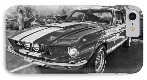 1967 Ford Shelby Mustang Gt500 Painted Bw IPhone Case