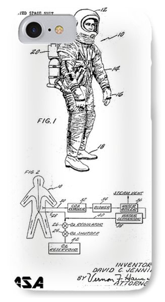 1967 Nasa Astronaut Ventilated Space Suit Patent Art 3 IPhone Case by Nishanth Gopinathan