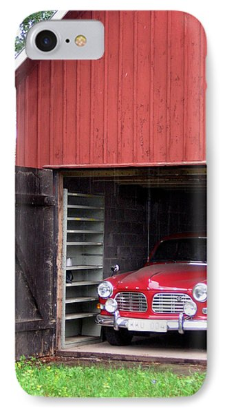 1967 Volvo In Red Sweden Barn IPhone Case by Mary Lee Dereske