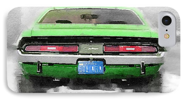 1968 Dodge Challenger Rear Watercolor IPhone Case by Naxart Studio