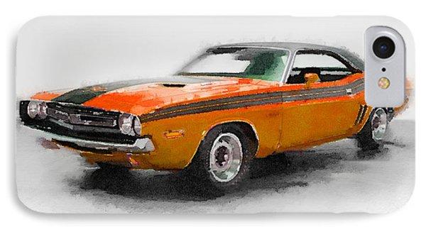 1968 Dodge Challenger Watercolor IPhone Case by Naxart Studio