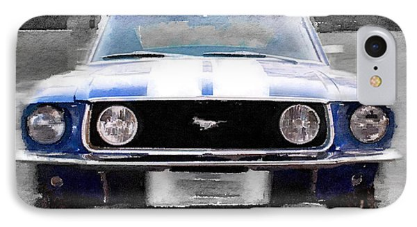 1968 Ford Mustang Front End Watercolor IPhone Case by Naxart Studio