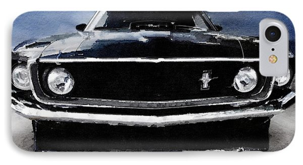 1968 Ford Mustang Shelby Front Watercolor IPhone Case