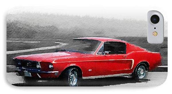 1968 Ford Mustang Watercolor IPhone Case by Naxart Studio