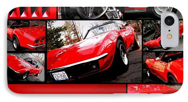 1969 Chevrolet Corvette Stingray Pop Art Collage 1 IPhone Case by Aurelio Zucco