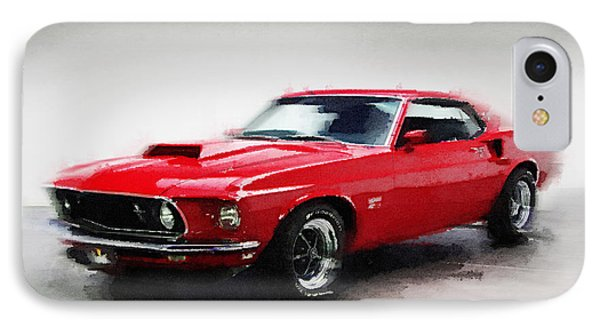 1969 Ford Mustang Watercolor IPhone Case by Naxart Studio