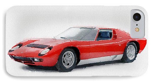 1969 Lamborghini Miura P400 S Watercolor IPhone Case