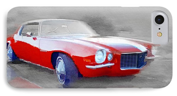 1970 Chevy Camaro Watercolor IPhone Case by Naxart Studio