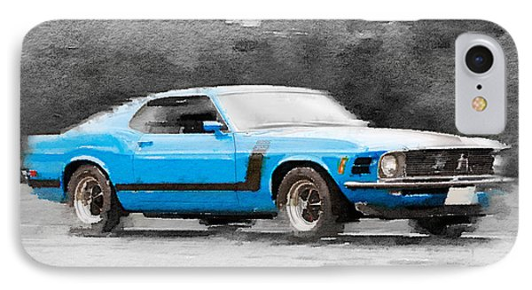 1970 Ford Mustang Boss Blue Watercolor IPhone Case by Naxart Studio