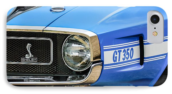 1970 Ford Mustang Convertible Gt350 Replica Grille Emblem IPhone Case by Jill Reger