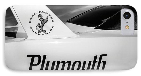 Roadrunner iPhone 7 Case - 1970 Plymouth Superbird Emblem -0520bw by Jill Reger