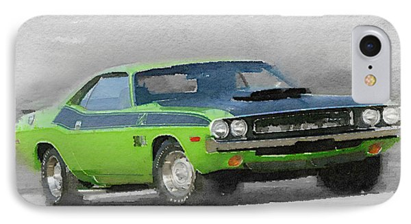 1970-ta-challenger Watercolor IPhone Case by Naxart Studio