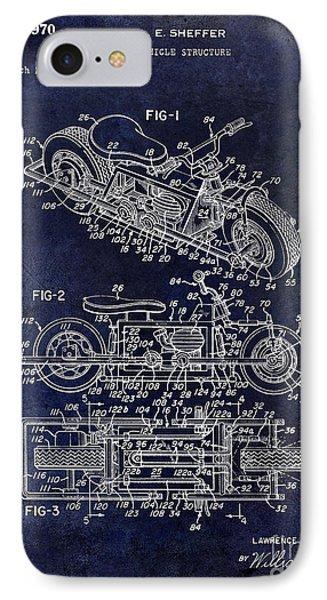 1970 Triumph Motorcycle Patent Drawing Blue IPhone Case by Jon Neidert