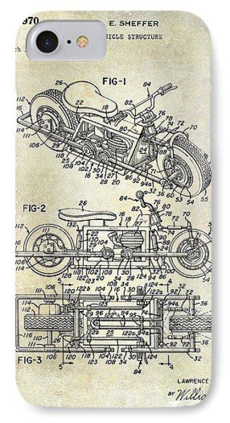 1970 Triumph Motorcycle Patent Drawing IPhone Case by Jon Neidert