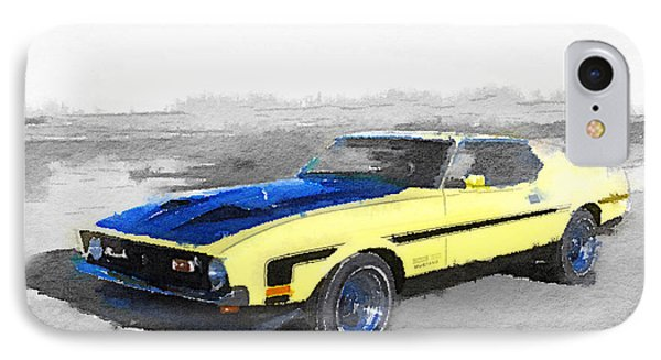 1971 Ford Mustang Boss Watercolor IPhone Case by Naxart Studio