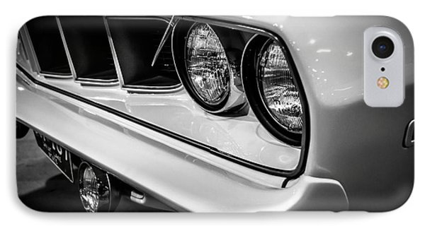 1971 Plymouth Cuda Black And White Picture IPhone Case by Paul Velgos