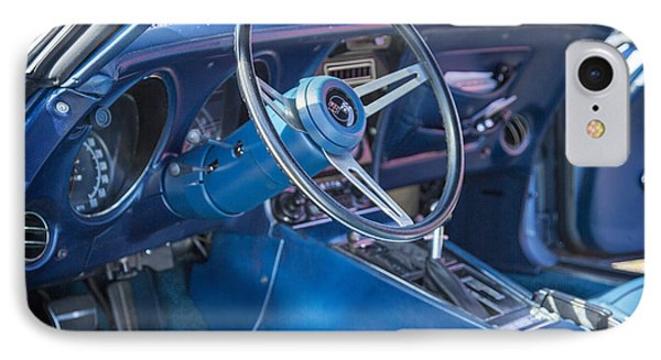1972 Chevrolet Corvette Stingray Interior Blue 3031.02 IPhone Case by M K  Miller