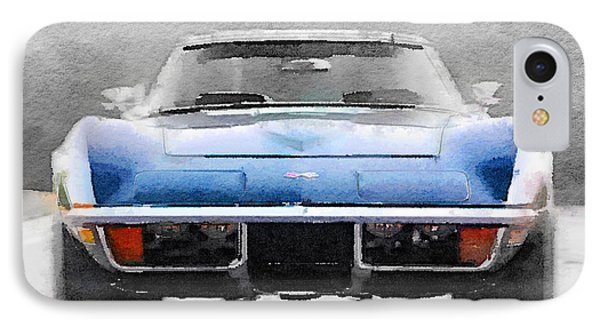 1972 Corvette Front End Watercolor IPhone Case by Naxart Studio
