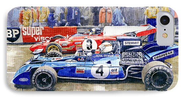 1972 French Gp Jackie Stewart Tyrrell 003  Jacky Ickx Ferrari 312b2  IPhone Case by Yuriy Shevchuk