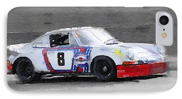 1973 Porsche 911 Watercolor IPhone Case by Naxart Studio