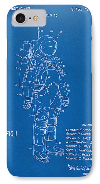 1973 Space Suit Patent Inventors Artwork - Blueprint IPhone 7 Case
