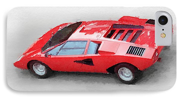 1974 Lamborghini Countach Watercolor IPhone Case