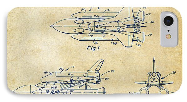 1975 Space Shuttle Patent - Vintage IPhone Case by Nikki Marie Smith
