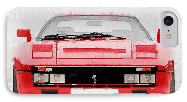 1980 Ferrari 288 Gto Front Watercolor IPhone Case by Naxart Studio