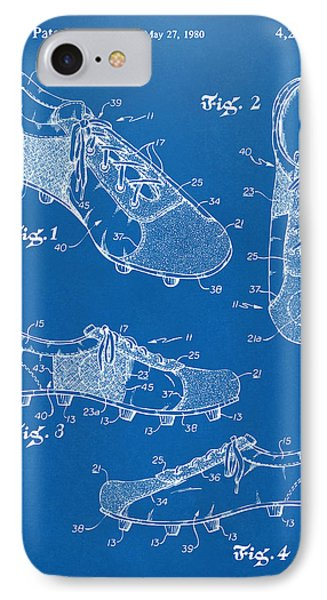 1980 Soccer Shoes Patent Artwork - Blueprint IPhone Case by Nikki Marie Smith