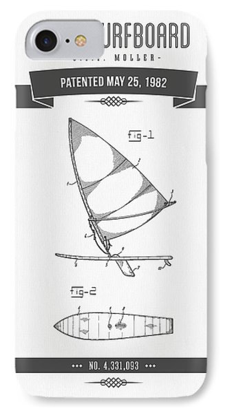 1982 Wind Surfboard Patent Drawing - Retro Gray IPhone Case