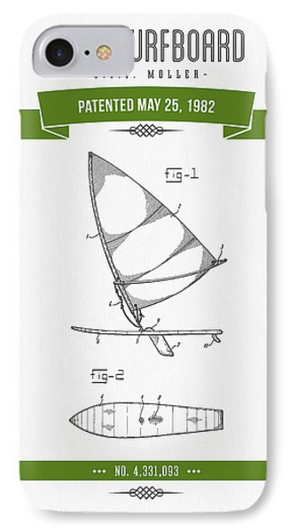 1982 Wind Surfboard Patent Drawing - Retro Green IPhone Case